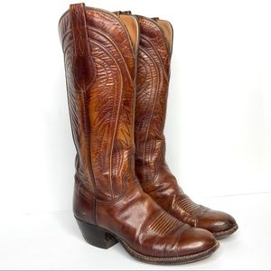 LUCCHESE Vintage 8083 Cowgirl Boots Brown Leather